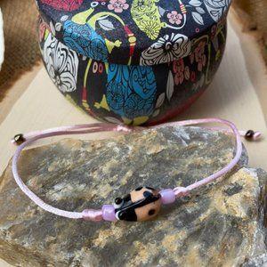 Ladybug Glass Pink Lampwork Bracelet